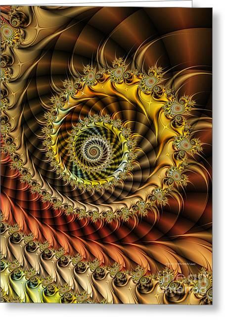 Fractal Image Greeting Cards - Polished Spiral Greeting Card by Karin Kuhlmann