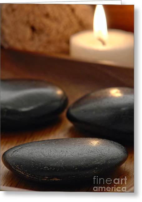 Spa Greeting Cards - Polished Stones in a Spa Greeting Card by Olivier Le Queinec