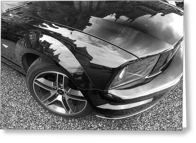 Polish American Art Greeting Cards - Polished To Perfection - Mustang GT In Black and White Greeting Card by Gill Billington