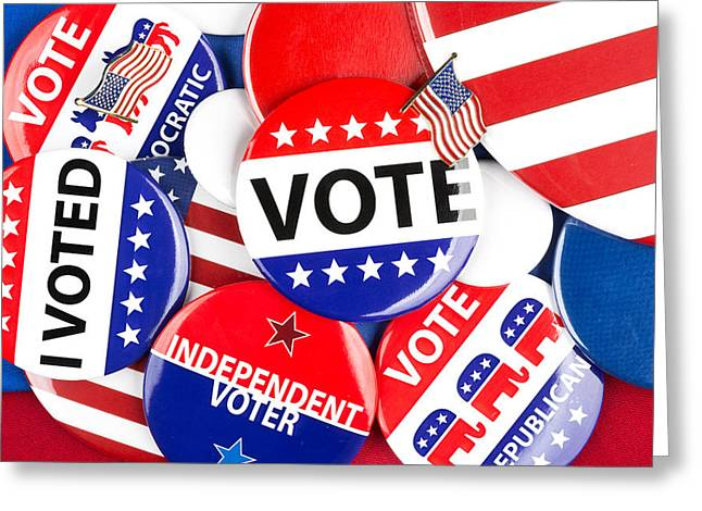 Voted Images Greeting Cards - Political badge collection Greeting Card by Joe Belanger