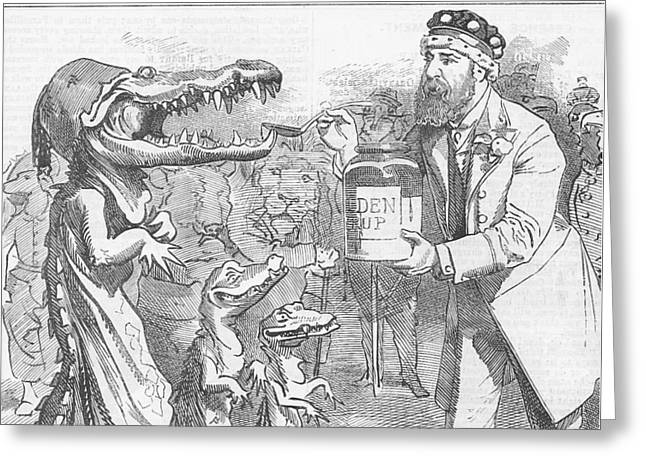 Editorial Drawings Greeting Cards - Political Crocodile Greeting Card by Konni Jensen
