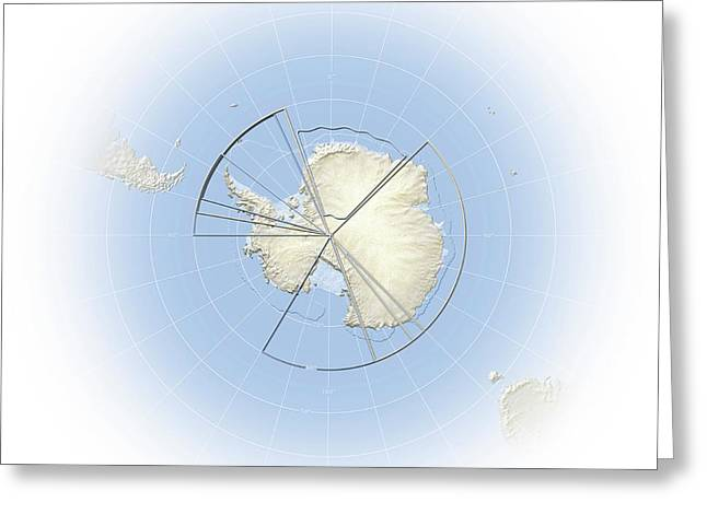 Political Map Of Antarctica Greeting Card by Mikkel Juul Jensen