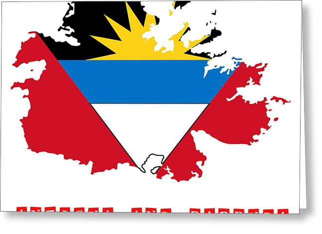 Division Greeting Cards - Political map of Antigua and Barbuda Greeting Card by Celestial Images