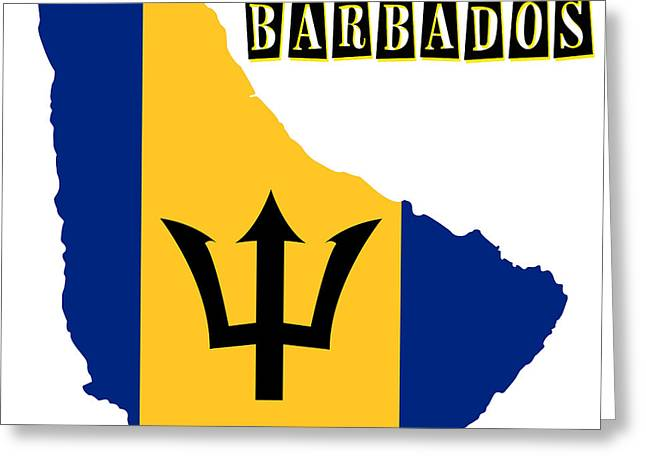 Division Paintings Greeting Cards - Political map of Barbados Greeting Card by Celestial Images