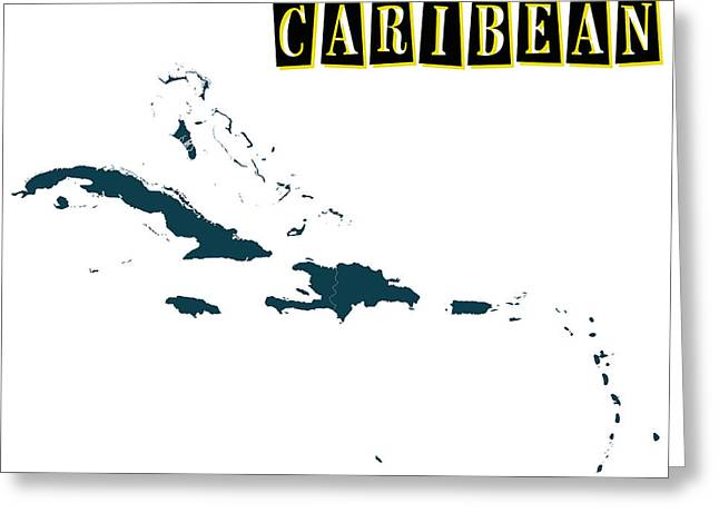 Division Paintings Greeting Cards - Political map of Caribean Greeting Card by Celestial Images