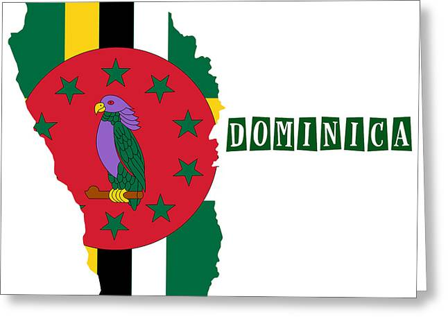 Division Greeting Cards - Political map of Dominica Greeting Card by Celestial Images