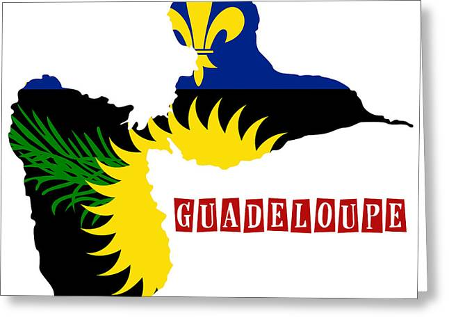 Division Paintings Greeting Cards - Political map of Guadeloupe Greeting Card by Celestial Images