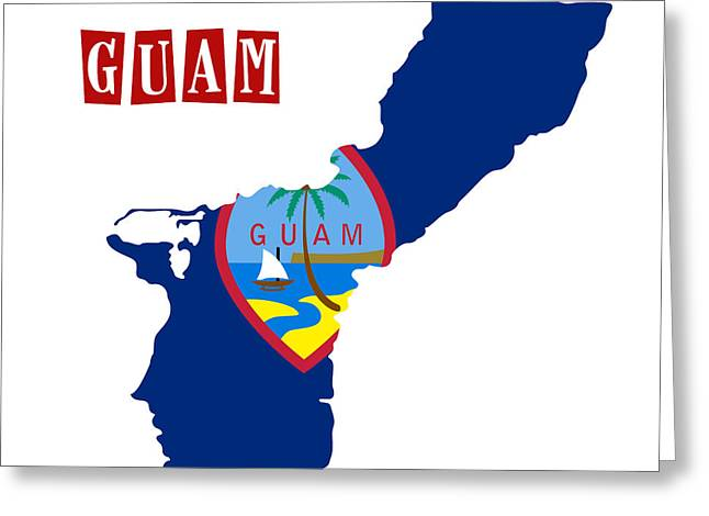 Division Paintings Greeting Cards - Political map of Guam Greeting Card by Celestial Images
