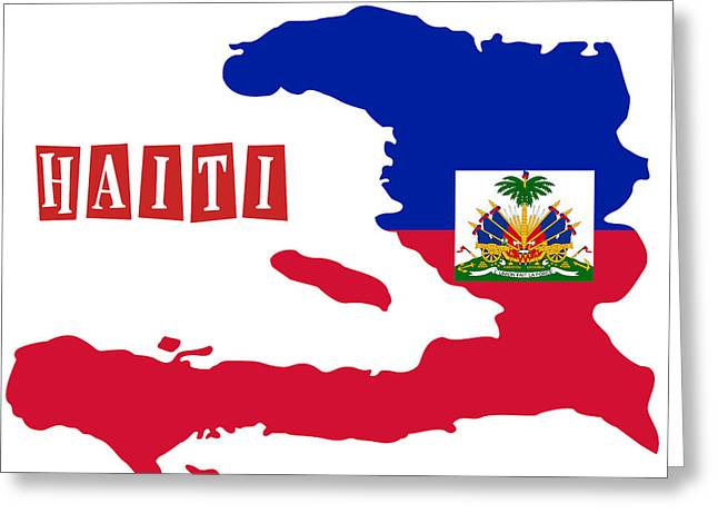 Division Paintings Greeting Cards - Political map of Haiti Greeting Card by Celestial Images
