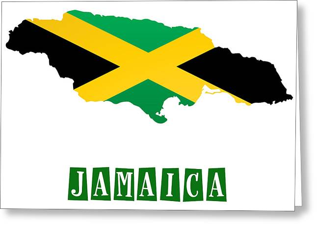 Division Paintings Greeting Cards - Political map of jamaica Greeting Card by Celestial Images