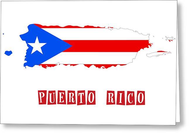 Division Paintings Greeting Cards - Political map of Puerto Rico Greeting Card by Celestial Images