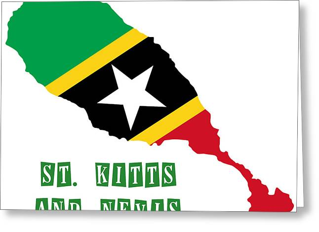 Division Paintings Greeting Cards - Political map of St Kitts and Nevis Greeting Card by Celestial Images