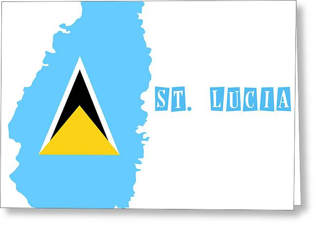 Division Paintings Greeting Cards - Political map of St Lucia Greeting Card by Celestial Images