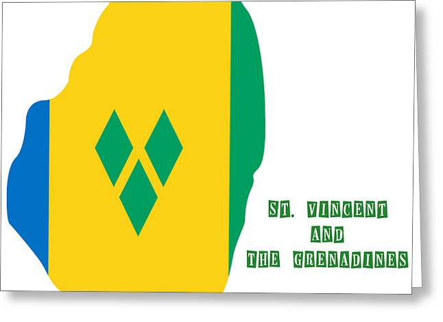 Grenadine Greeting Cards - Political map of St Vincent and The Grenadines Greeting Card by Celestial Images