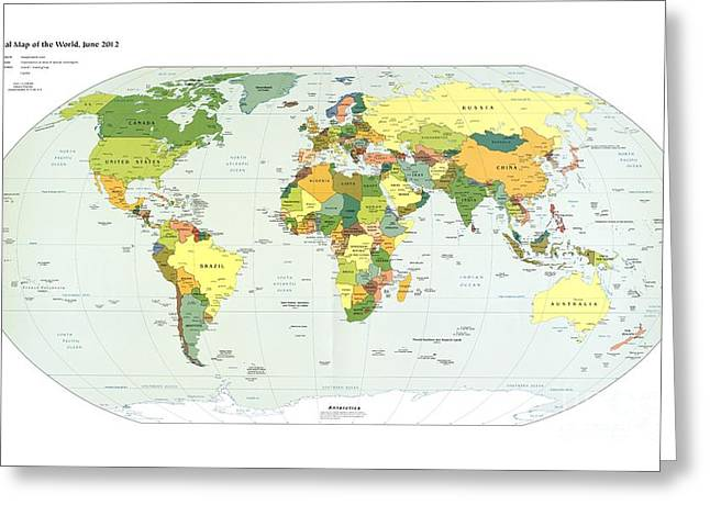 Political Map Of The World, 2012 Greeting Card by Library Of Congress