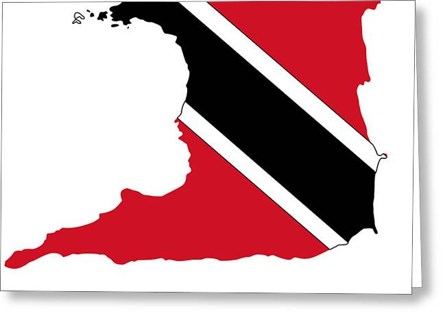 Division Greeting Cards - Political map of TRINIDAD AND TOBAGO Greeting Card by Celestial Images