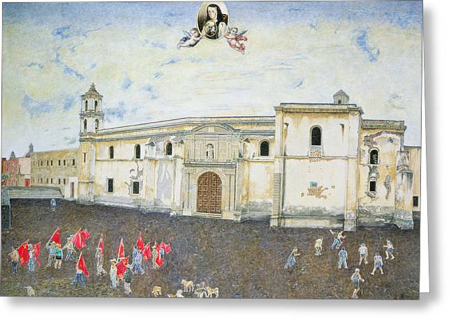 Mexico City Photographs Greeting Cards - Political Protest, The Cloister Of Sor Juana De La Cruz 1648-95 2001 Oil On Canvas Greeting Card by James Reeve