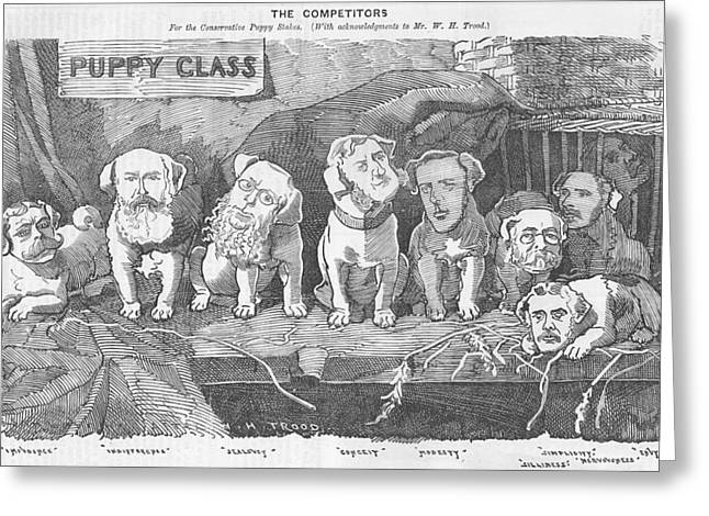 Puppies Drawings Greeting Cards - Political puppy class Greeting Card by Konni Jensen