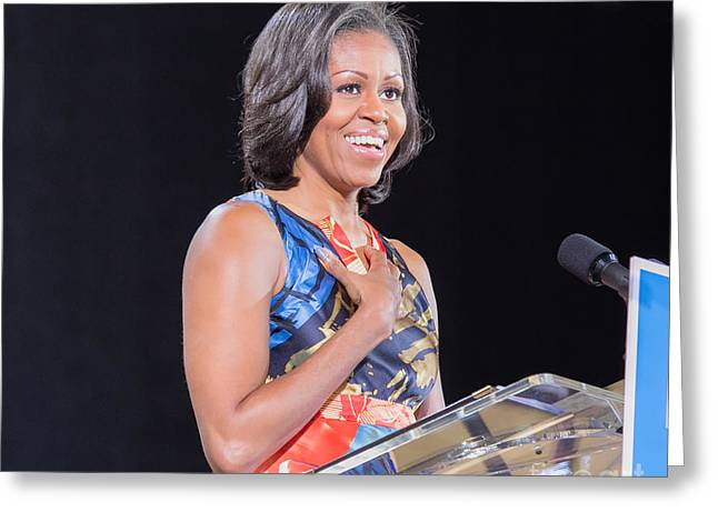 Michelle Obama Greeting Cards - Political Ralley Greeting Card by Ava Reaves