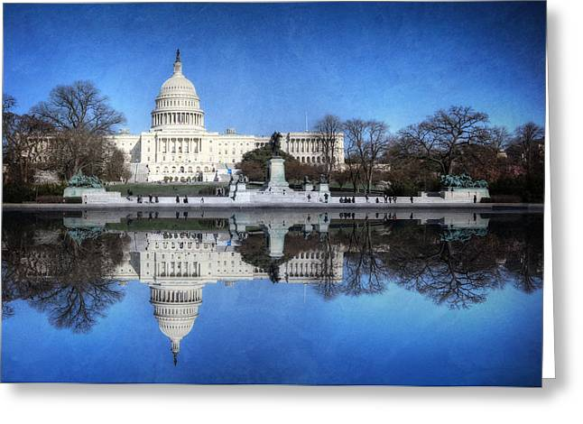 United States Capitol Greeting Cards - Political Reflection Greeting Card by Lori Deiter