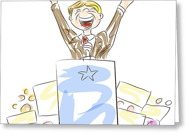 Voters Digital Greeting Cards - Politician at Rally Greeting Card by John Takai