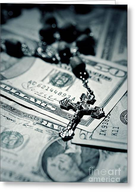 Rosary Greeting Cards - Politics Religion and Money 2 Greeting Card by Trish Mistric