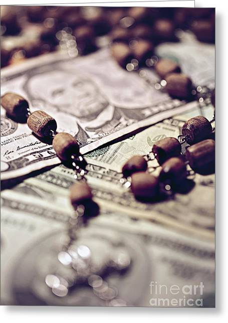 Rosary Greeting Cards - Politics  Religion and Money  Greeting Card by Trish Mistric