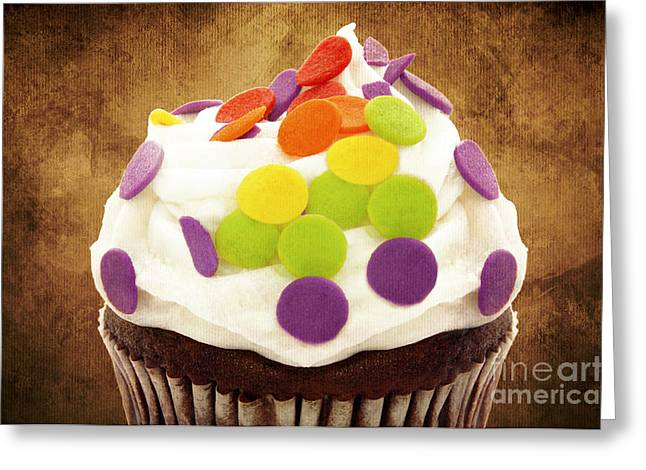 Frosting Greeting Cards - Polka Dot Cupcake 2 Greeting Card by Andee Design