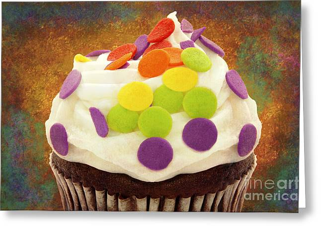 Cupcake Photography Greeting Cards - Polka Dot Cupcake 3 Greeting Card by Andee Design