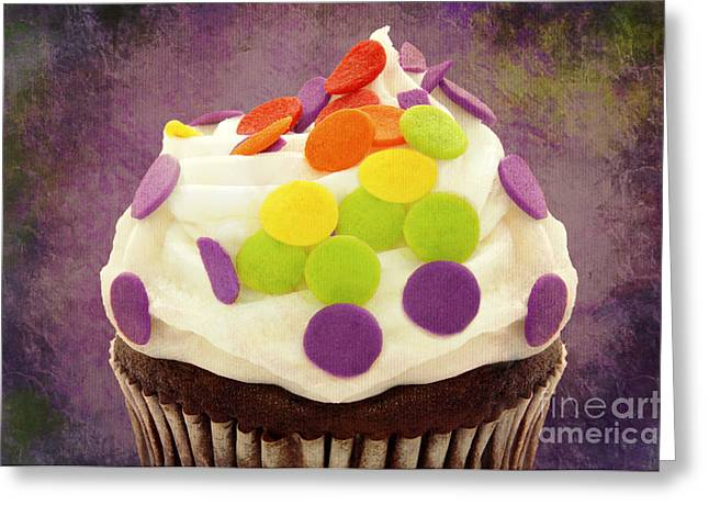 Cupcake Photography Greeting Cards - Polka Dot Cupcake 4 Texture Greeting Card by Andee Design