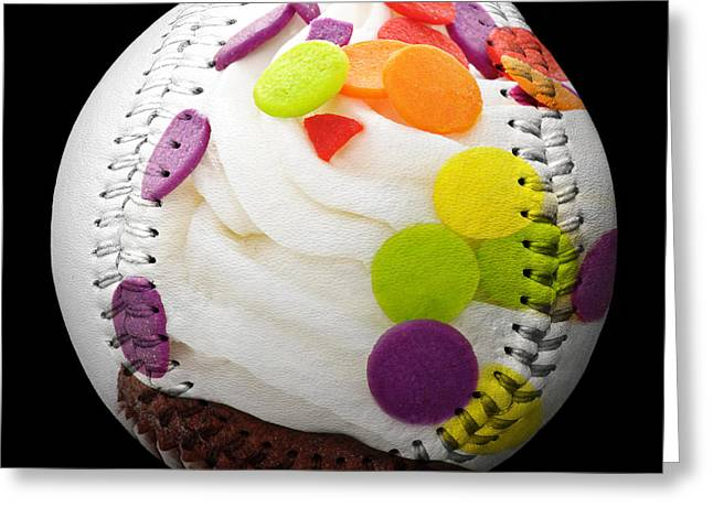 National Mixed Media Greeting Cards - Polka Dot Cupcake Baseball Square Greeting Card by Andee Design
