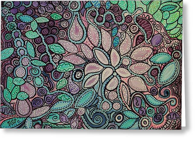 Dots And Lines Paintings Greeting Cards - Polka Dot Flowers Greeting Card by Barbara St Jean