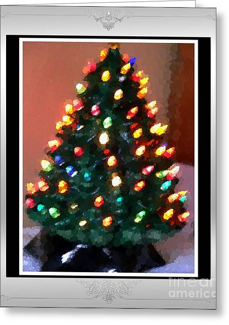Electric Creation Greeting Cards - Polka Dot Little Christmas Tree Greeting Card by Barbara Griffin