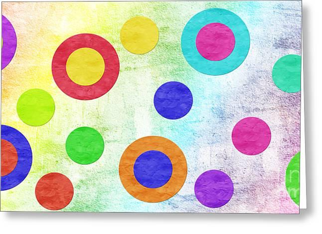 Cute Mixed Media Greeting Cards - Polka Dot Panorama - Rainbow - Circles - Shapes Greeting Card by Andee Design