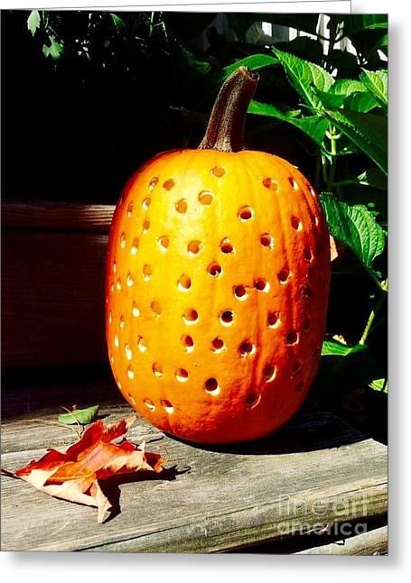 Individualistic Greeting Cards - Polkadot Pumpkin Greeting Card by Barbara Chase