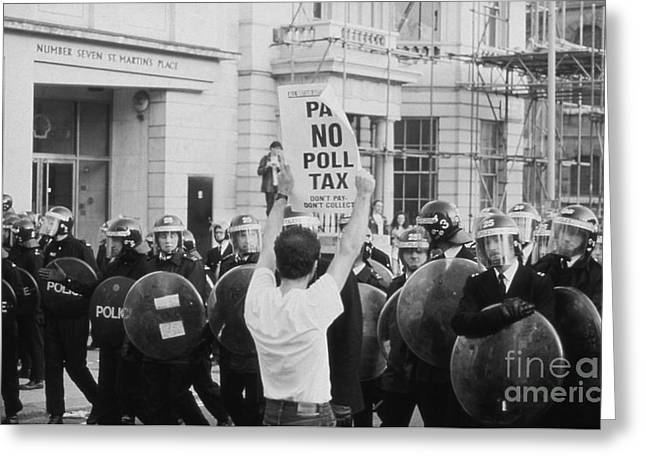 Police Baton Greeting Cards - Poll Tax Riots London Greeting Card by David Fowler