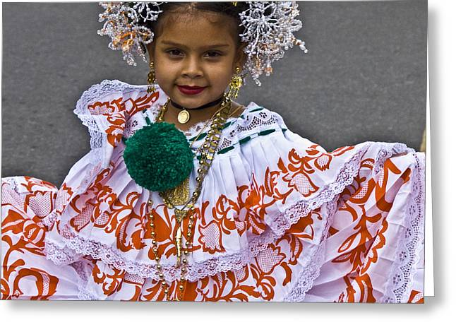 Festivities Greeting Cards - Pollera Costume Greeting Card by Heiko Koehrer-Wagner