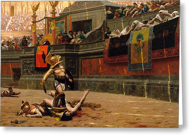 Jean Leon Gerome Greeting Cards - Pollice Verso. With a turned thumb Greeting Card by Jean-Leon Gerome