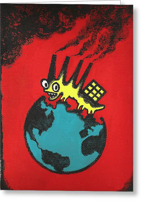 Universal Paintings Greeting Cards - Pollution Greeting Card by Leon Zernitsky