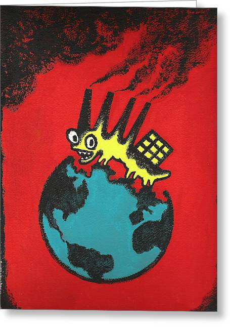 Pollution Greeting Card by Leon Zernitsky
