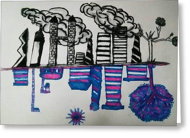 Impacting Drawings Greeting Cards - Pollution Greeting Card by Ramisha Chowdhury