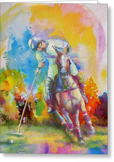 American Football Paintings Greeting Cards - Polo Art Greeting Card by Catf