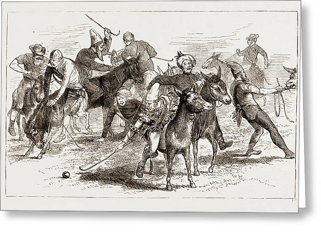 Polo Burlesqued, The Volunteer Camp At Wimbledon Uk 1873 Greeting Card by Litz Collection