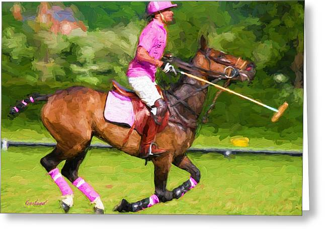 Quarter Horse Mixed Media Greeting Cards - Polo In Pink Greeting Card by Garland Johnson
