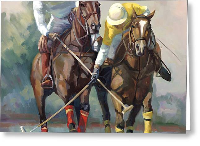 Wild Horses Greeting Cards - Polo Greeting Card by Laurie Hein