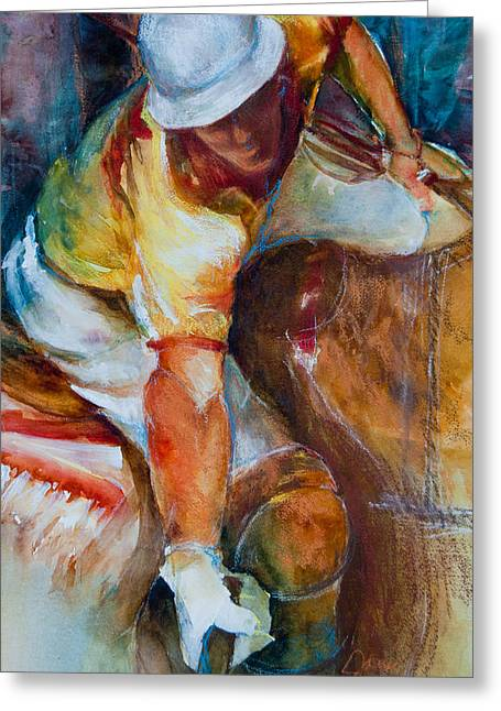 Horse Images Mixed Media Greeting Cards - Polo Player Greeting Card by Jani Freimann