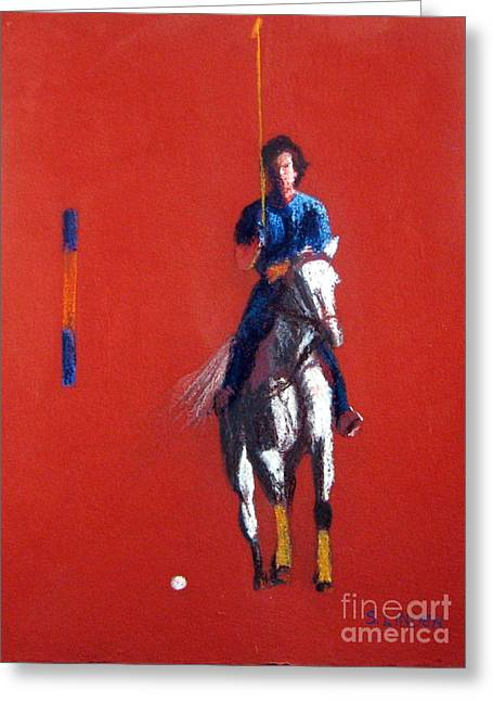 White Horse Pastels Greeting Cards - Polo Player Greeting Card by Sandy Linden