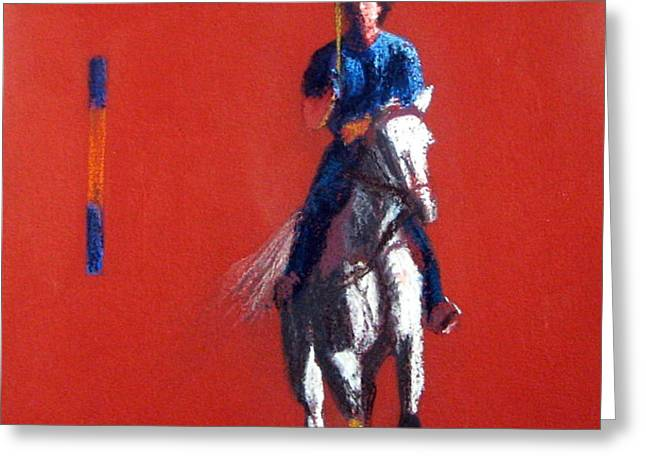 Polo Player Greeting Card by Sandy Linden