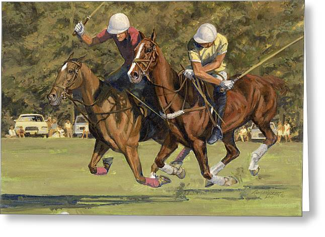 St Louis Missouri Greeting Cards - Polo Match Greeting Card by Don  Langeneckert