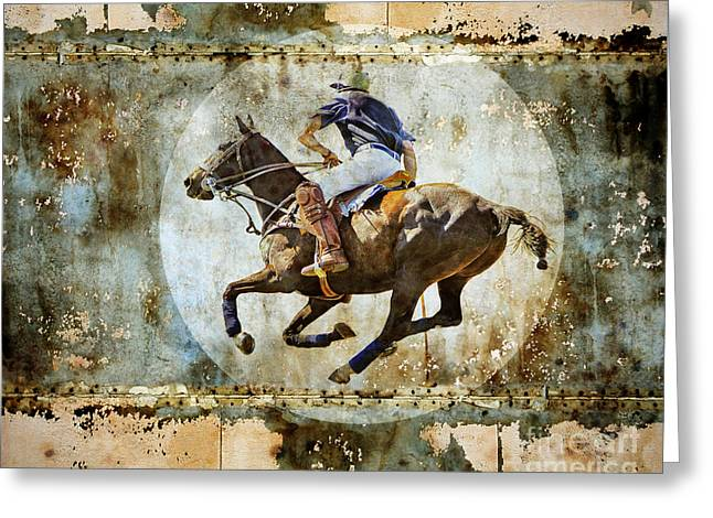 Polo Player Greeting Cards - Polo Pursuit Greeting Card by Judy Wood
